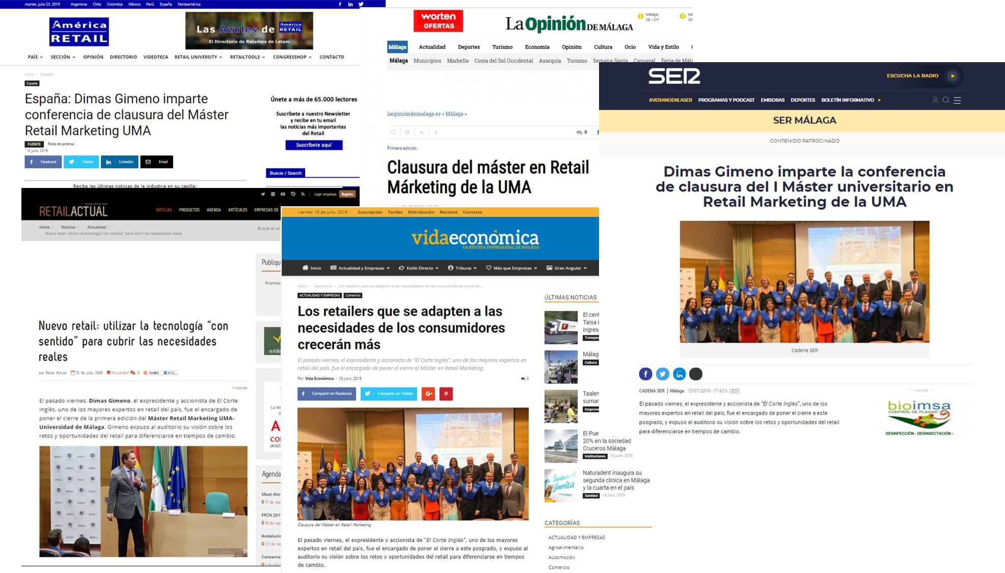 Medios de comunicación locales, nacionales e internacionales se hacen eco del acto de clausura de la I edición del máster y la conferencia a cargo de Dimas Gimeno