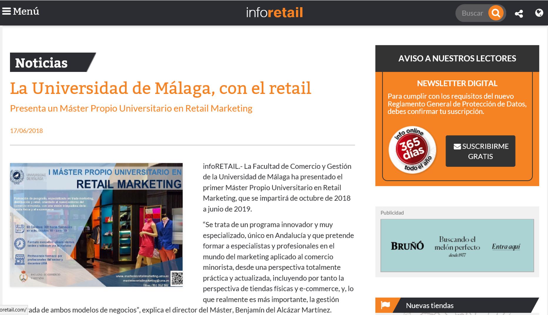 Inforetail, una de las revistas y portales más destacados y especializados en el sector del retail y el gran consumo se hace eco en su edición de hoy del lanzamiento de nuestro Máster en Retail Marketing.