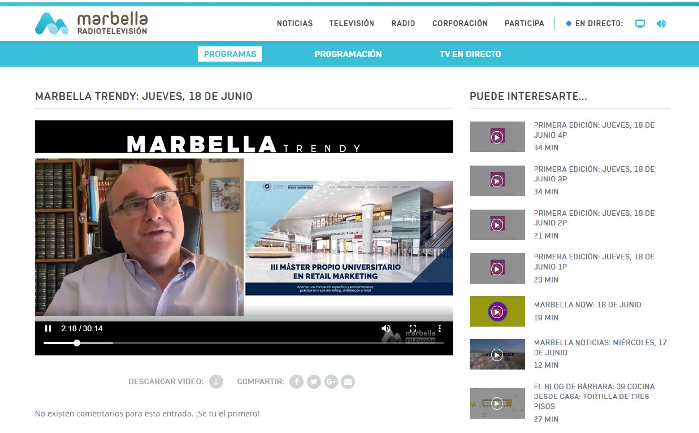 El programa Marbella Trendy de RTV Marbella emite un reportaje sobre nuestro Máster en Retail Marketing de la Universidad de Málaga