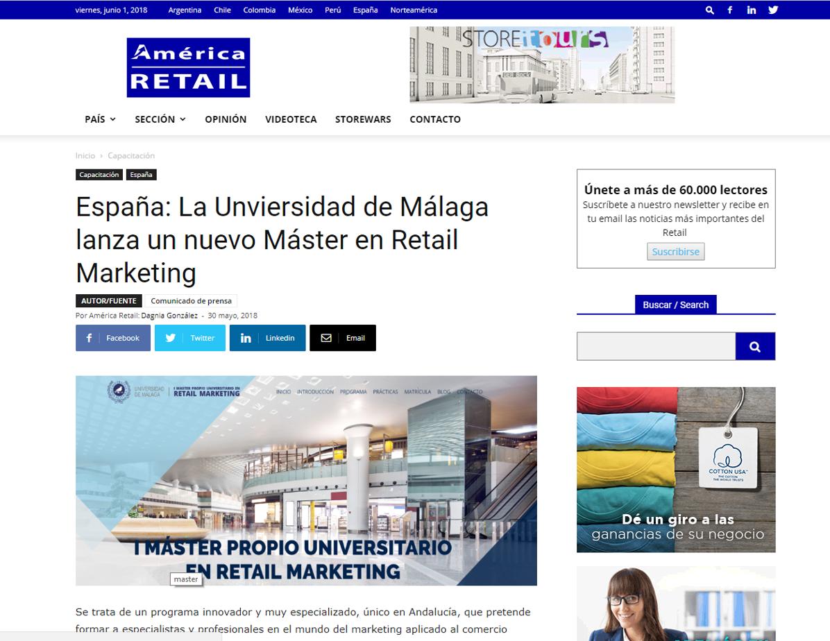 América Retail, la primera comunidad del Retail y Consumo Masivo en Latinoamérica se hace eco de la presentación del nuevo Máster en retail Marketing de la UMA.