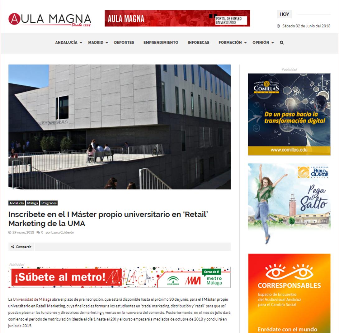 AULA MAGNA, periódico universitario con presencia en toda Andalucía y en Madrid, también recoge la noticia del lanzamiento del Máster