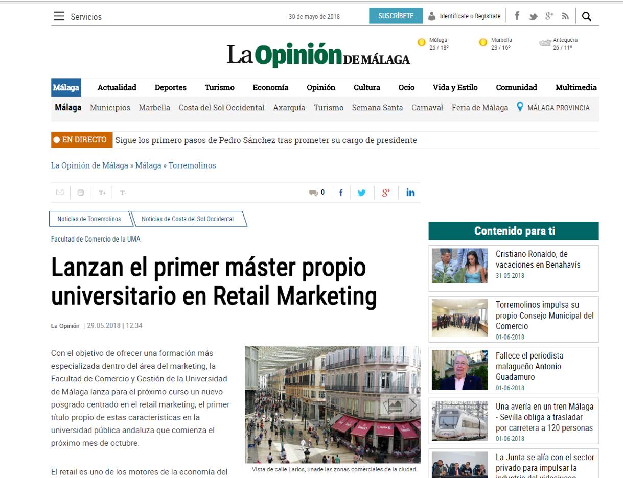 El Diario La Opinión de Málaga se hace eco del lanzamiento del máster