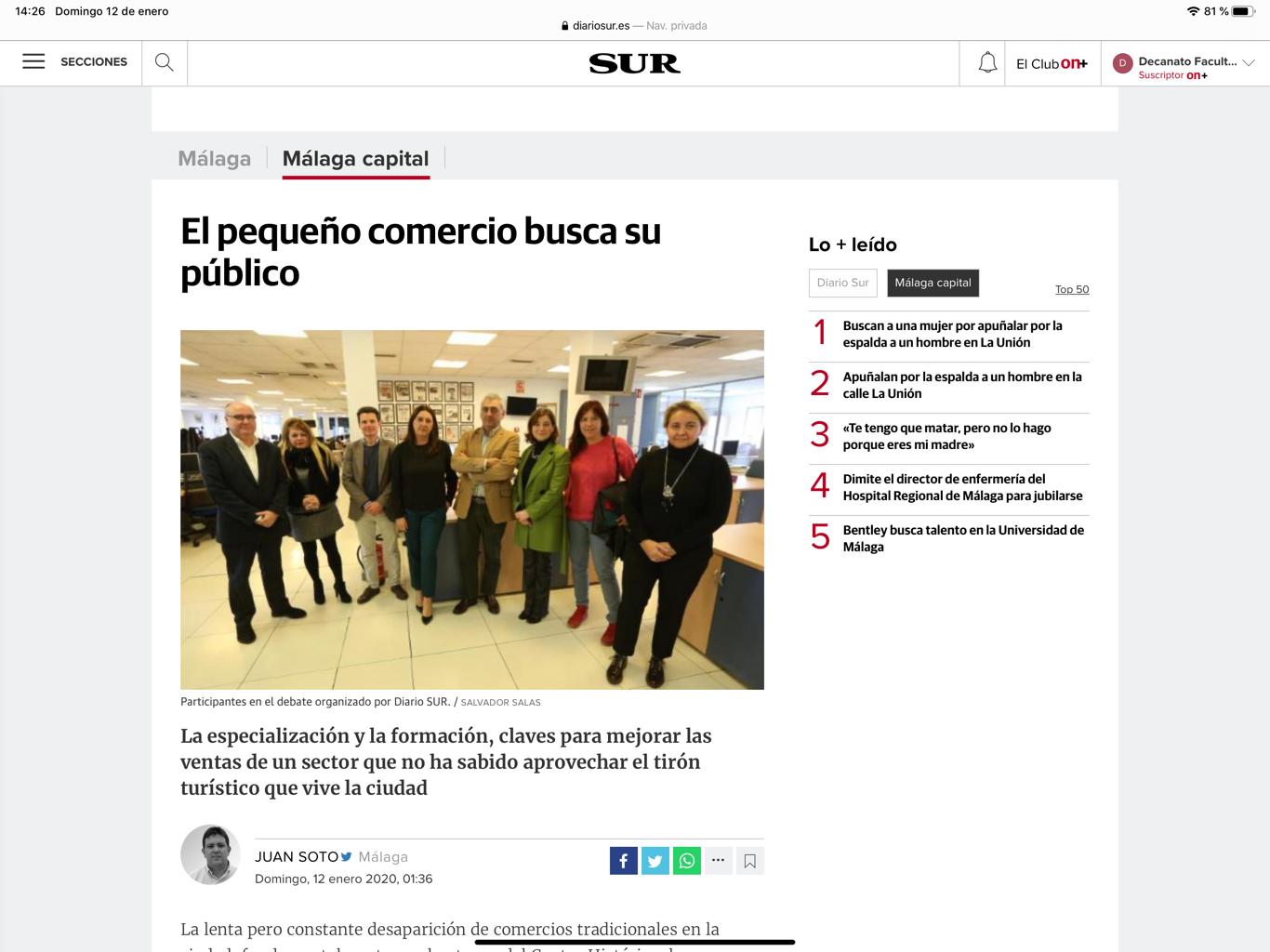 El Director del Máster participa en el foro del Diario Sur para analizar la situación del pequeño comercio en la ciudad de Málaga